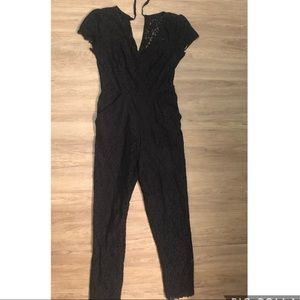Fire Los Angeles Black Lace Overlay Jumpsuit